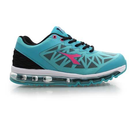 【DIADORA】女氣墊慢跑鞋-路跑 寬楦 運動鞋 休閒鞋 藍白黑25