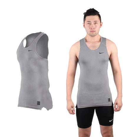 【NIKE】PRO 男緊身背心-針織 健身 重量訓練 慢跑 路跑 無袖 灰黑-戶外.婦幼.食品保健-myfone購物