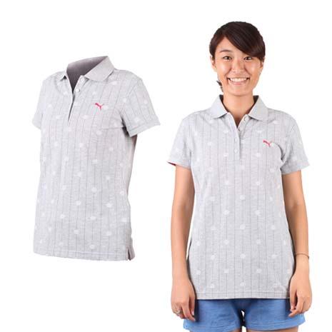 【PUMA】女短袖POLO衫-立領 高爾夫 淺灰桃紅-戶外.婦幼.食品保健-myfone購物