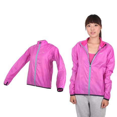 【MIZUNO】女路跑風衣- 慢跑 防風外套 立領 台灣製 美津濃 紫銀M