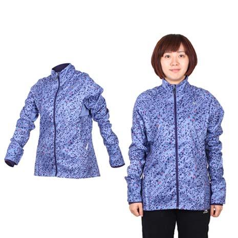【PUMA】女滿版印花立領風衣外套- 慢跑 路跑 防風 紫紅L