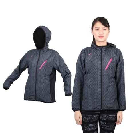 【MIZUNO】女半長風衣外套 - 防風 刷毛 保暖 深灰桃紅M