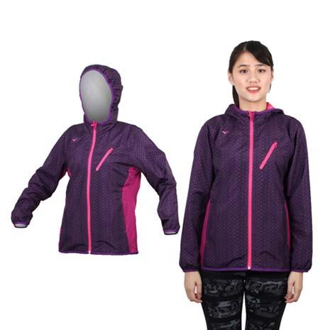 【MIZUNO】女半長風衣外套 - 防風 刷毛 保暖 深紫桃紅M