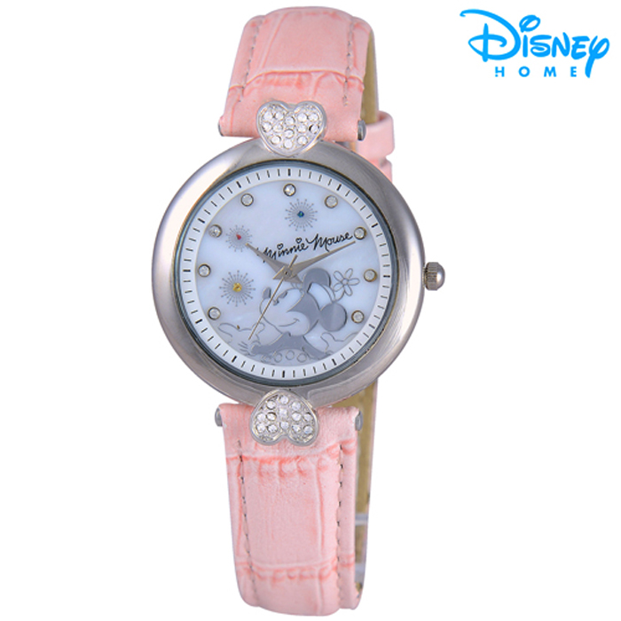 【Disney迪士尼】米奇心漾晶鑽皮革腕錶 (米妮款)
