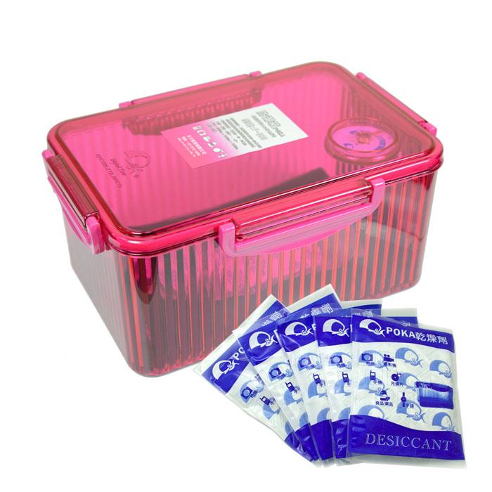 《POKA》免插電型防潮箱 F-580(粉色)+1入乾燥劑