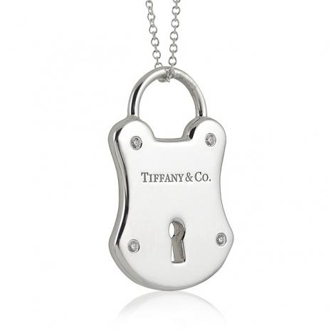 TIFFANY&Co. 鎖頭造型鑲鑽純銀項鍊