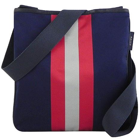 BALLY 藍色輕量尼龍條紋斜背包