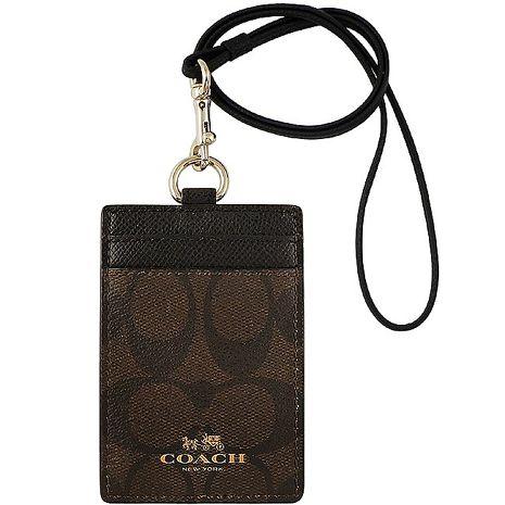 COACH 大C PVC識別證件夾-巧克力色