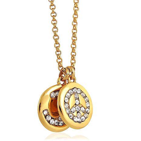 JUICY COUTURE 和平圖樣飾牌晶鑽項鍊(金色)(驚喜下殺)