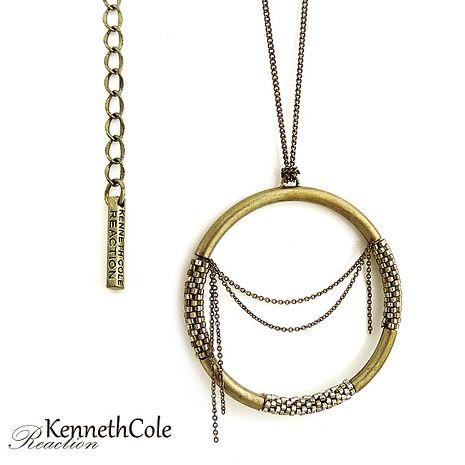 KENNETH COLE 魅惑古銅環型垂墜項鍊-服飾‧鞋包‧內著‧手錶-myfone購物