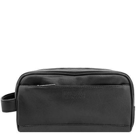 KENNETH COLE 皮革壓紋化妝包/手抓包-大型(黑色)