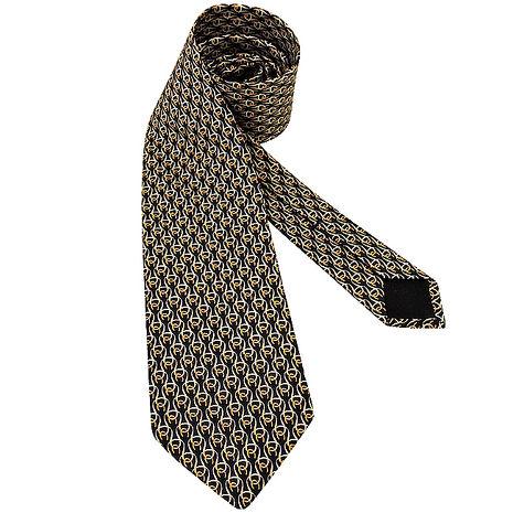 GUCCI 馬蹄環釦絲質造型領帶-黑色(app)