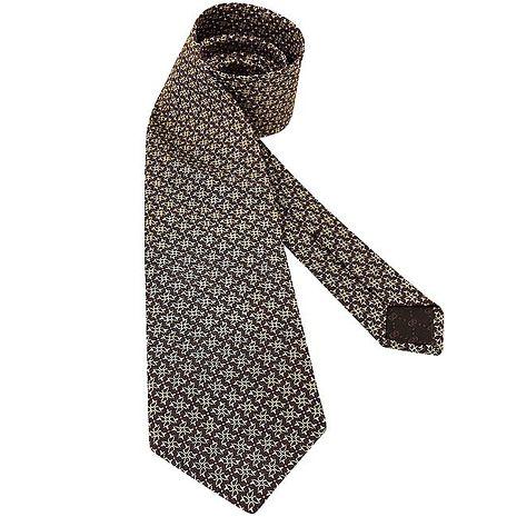 GUCCI 環釦圖樣絲質造型領帶-咖啡色(驚喜下殺)