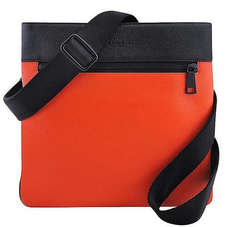 COACH 皮革壓紋斜背包-橘色(APP)