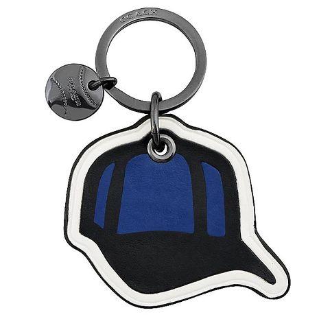 COACH 棒球帽造型皮革鑰匙圈-藍色(APP)