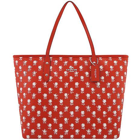 COACH 馬車花朵圖樣PVC托特包-大型/橘紅色(特賣)