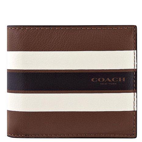 COACH 皮革壓紋雙摺中夾/附名片夾-白色橫紋