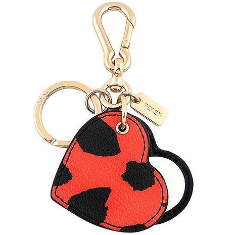 COACH 豹紋圖樣PVC鑰匙圈-紅色(APP)