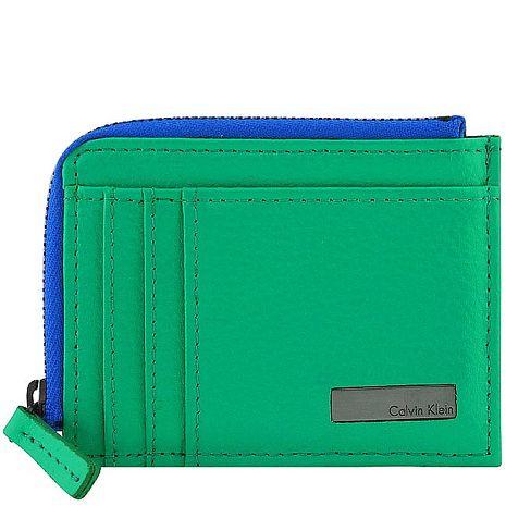 Calvin Klein 皮革壓紋名片證件夾/零錢包-綠色(app)