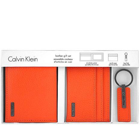 Calvin Klein 皮革壓紋雙摺短夾-附名片夾及鑰匙圈-橘色(app)