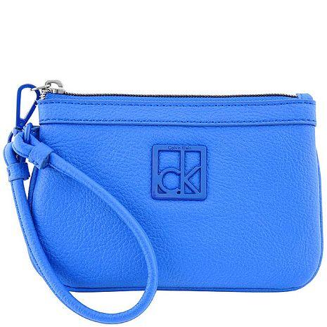 Calvin Klein 皮革壓紋手拿包-藍色(特賣)
