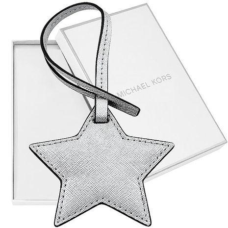 MICHAEL KORS 防刮皮革星星造型吊飾-銀色(特賣)