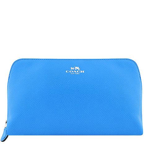 COACH 馬車防刮皮革化妝包-大型/藍色(特賣)
