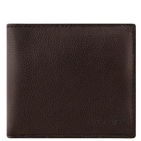 COACH 皮革壓紋雙摺中夾-巧克力色特賣