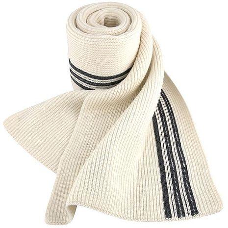 Y-3山本耀司 米白色經典三線厚織羊毛長圍巾