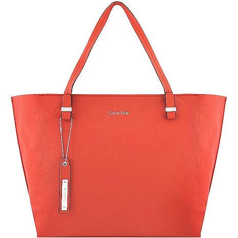 Calvin Klein 皮革壓紋托特包/大型-橘紅色(特賣)