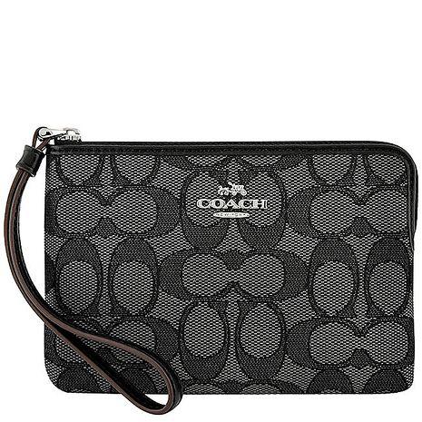 COACH 大C織紋手拿包-黑色(特賣)