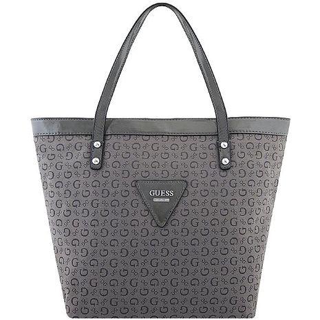 GUESS LOGO織紋托特包/大型-深灰色