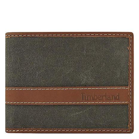 Timberland 厚織帆布雙摺短夾-墨綠色(特賣)