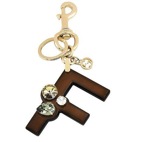 GUCCI 字母「F」水晶鑲嵌鑰匙圈-咖啡色(特賣)