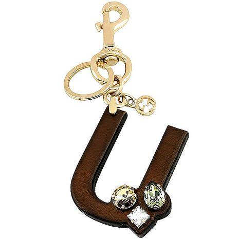 GUCCI 字母「U」水晶鑲嵌鑰匙圈-咖啡色(特賣)