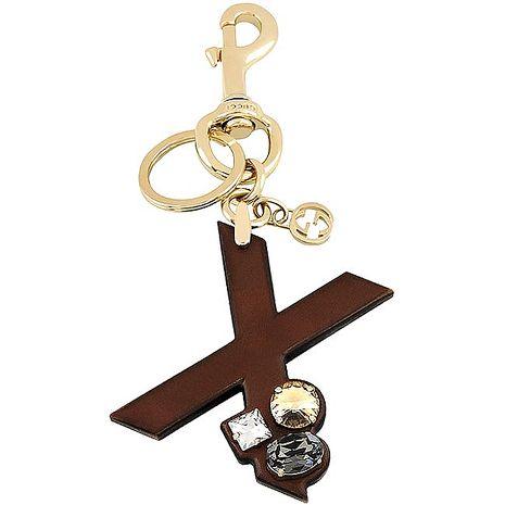 GUCCI 字母「X」水晶鑲嵌鑰匙圈-咖啡色(特賣)