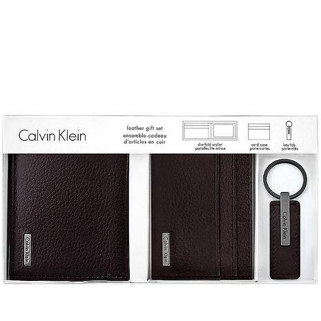 Calvin Klein 皮革壓紋雙摺短夾-附名片夾及鑰匙圈/巧克力色(特賣)