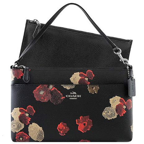 COACH 花朵圖樣PVC手提包-附可拆拉鍊長夾/黑色(特賣)