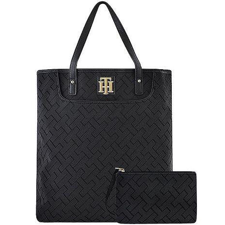 TOMMY LOGO織紋托特包/大型-黑色(附手拿包)(特賣)