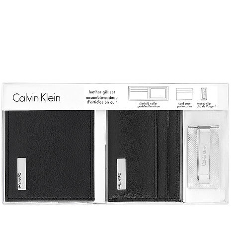 Calvin Klein 皮革壓紋雙摺短夾-附名片夾及鈔票夾-黑色(特賣)