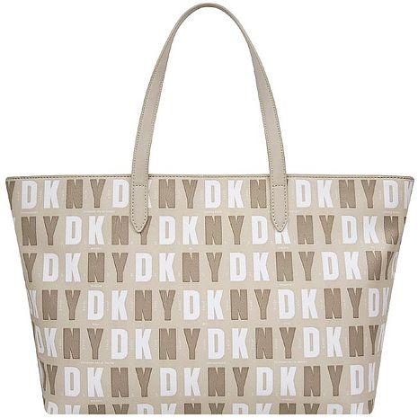 DKNY LOGO字樣PVC托特包/大型-卡其色(特賣)