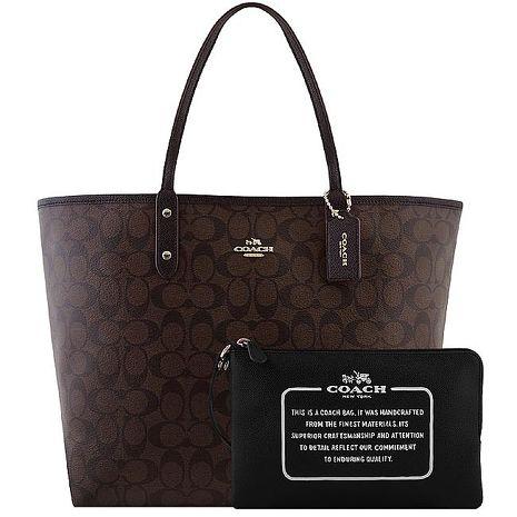 COACH 大C PVC雙面托特包-附大型手拿包-巧克力色(特賣)