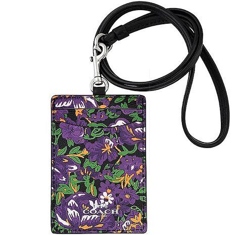 COACH 花朵圖樣PVC識別證件夾-紫色(特賣)