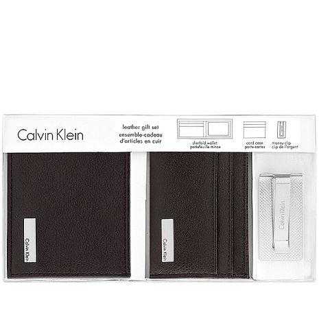 Calvin Klein 皮革壓紋雙摺短夾-附名片夾及鈔票夾/巧克力色(特賣)