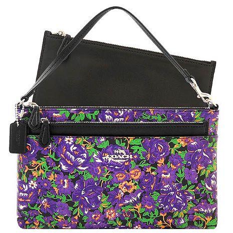 COACH 花朵圖樣PVC手提包/附可拆拉鍊長夾-紫色(特賣)