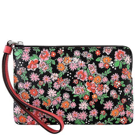 COACH 花朵圖樣PVC手拿包-粉紅色(特賣)