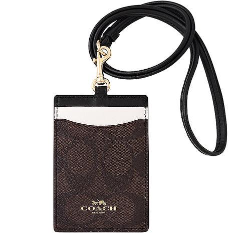 COACH 大C PVC識別證件夾-巧克力色 (特賣)
