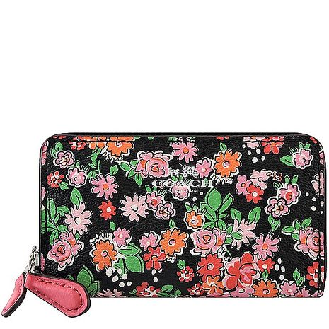 COACH 花朵圖樣PVC雙層拉鍊名片夾/零錢包-粉紅色(特賣)