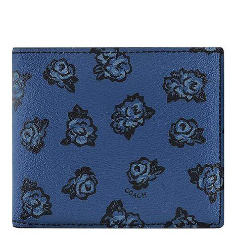 COACH 花朵圖樣PVC雙摺中夾-附可拆名片短夾-深藍色