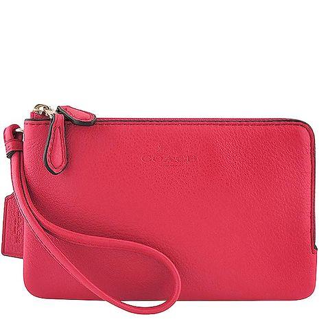 COACH 馬車皮革壓紋雙層手拿包-桃紅色(特賣)